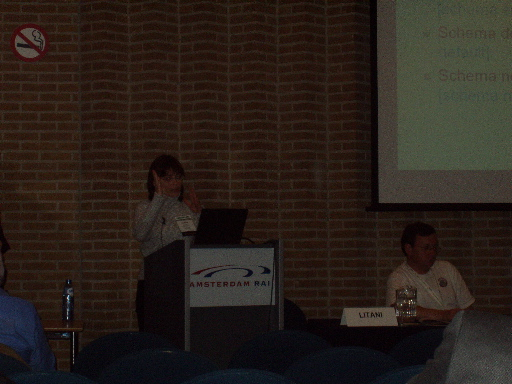 Elena Litani lecturing at XML Europe 2004