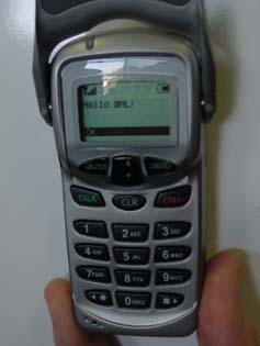 "A Sprint cell phone showing the words ""Hello WML"""