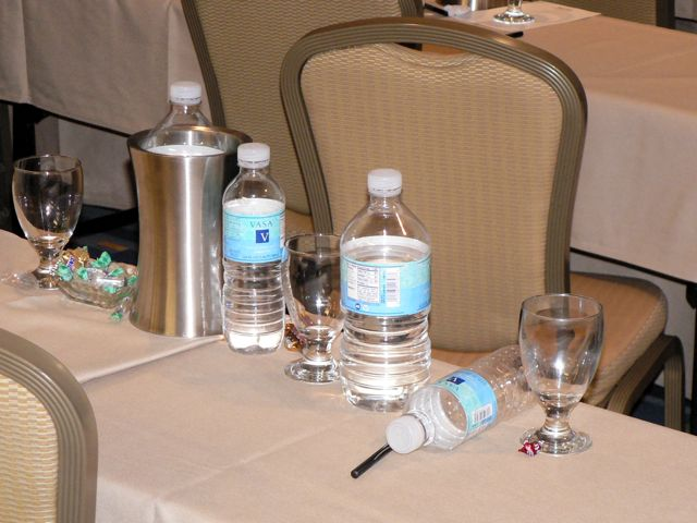 Water bottles on conference table